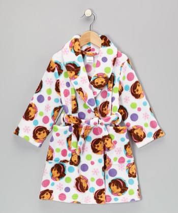 Rainbow Polka Dot Dora Plush Robe - Toddler