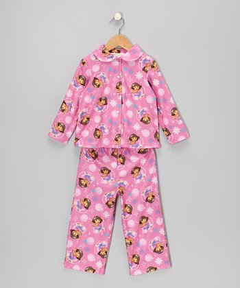 Pink Dora Button-Up Pajama Set - Infant & Toddler