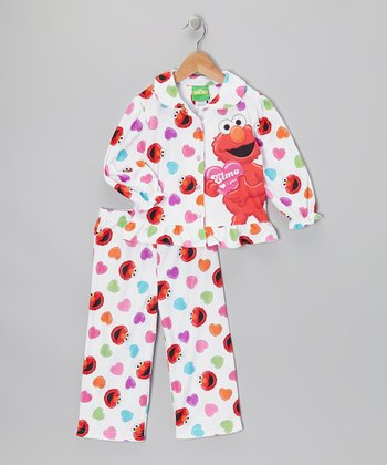 White & Lilac Elmo Pajama Set - Toddler