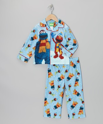 Light Blue Cookie Monster & Elmo Pajama Set - Toddler