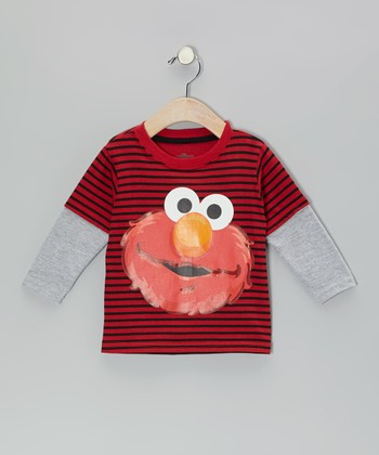 Red Stripe Elmo Layered Tee - Infan