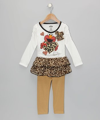 Tan Cheetah Elmo Tunic & Leggings