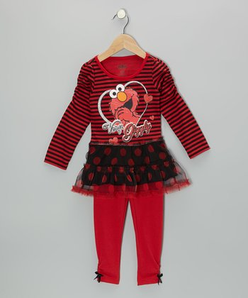Red & Black Elmo Polka Dot Tunic & Leggings