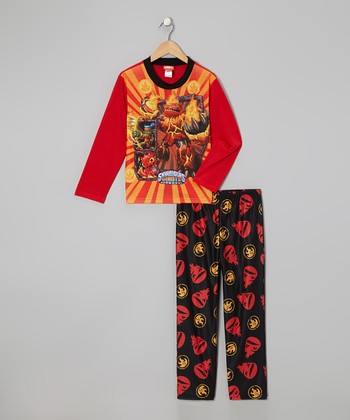 Orange & Black Skylanders Pajama Set - Boys