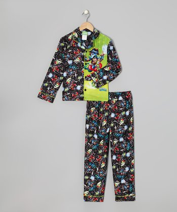 Black & Yellow Skylanders Button-Up Pajama Set - Boys