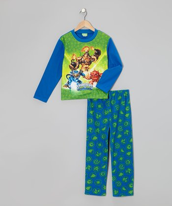 Blue & Green Skylanders Fleece Pajama Set - Boys