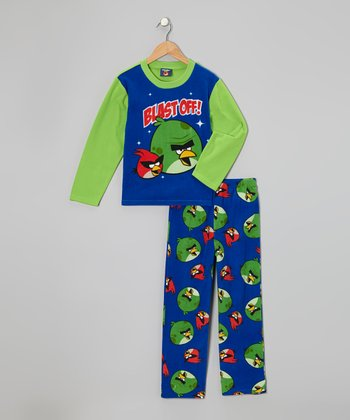 Blue & Green Angry Birds Fleece Pajama Set - Boys