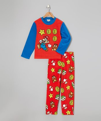 Red & Blue Mario Fleece Pajama Set - Boys