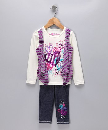 Cream Heart Layered Tee & Jeggings - Girls