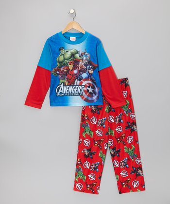 Blue & Red Avengers Pajama Set - Kids