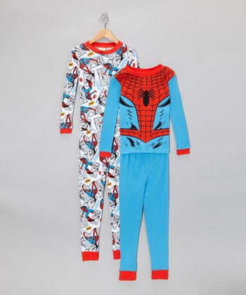 Blue & Red Spider-Man Pajama Set - Kids
