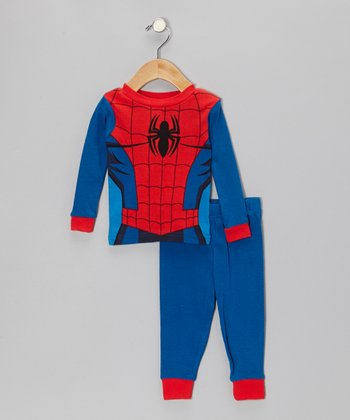 Blue & Red Spider-Man Costume Pajama Set - Infant