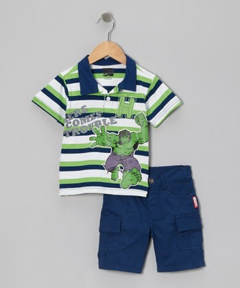 Blue & Green Stripe 'Hulk' Polo & Shorts - Toddler & Boys