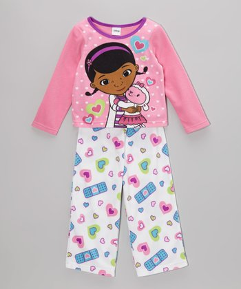 Pink & White Doc McStuffins Pajama Set - Toddler