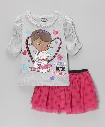 Gray & Pink 'Little Caretaker' Tee & Skirt - Toddler & Girls