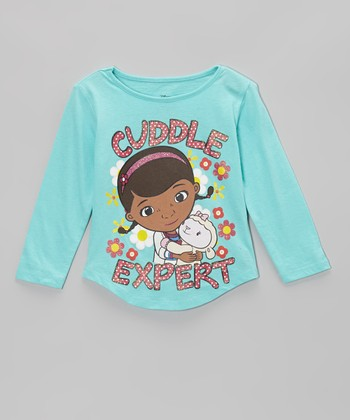 Turquoise 'Cuddle Expert' Long Sleeve Tee - Toddler