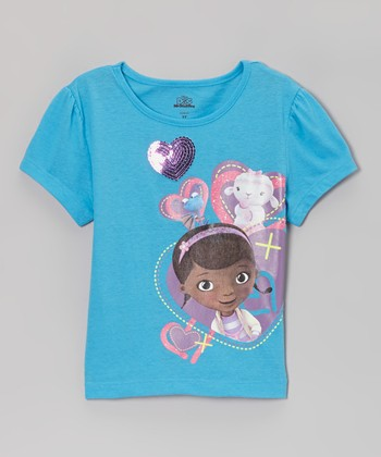 Turquoise Sequin Heart Tee - Toddler & Girls