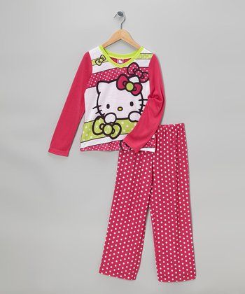 Fuchsia Polka Dot Hello Kitty Pajama Set - Girls