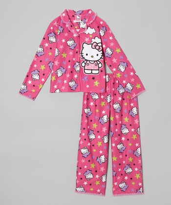 Pink Hello Kitty Star Button-Up Pajama Set - Girls