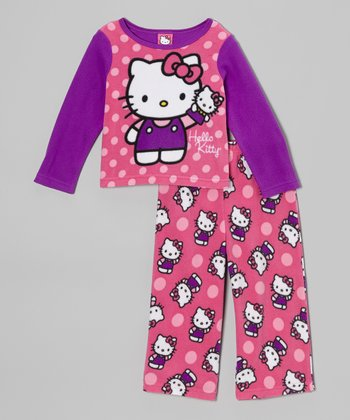 Pink & Purple Hello Kitty Polka Dot Pajama Set