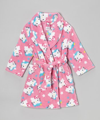 Pink Hello Kitty Stars Robe - Toddler & Girls