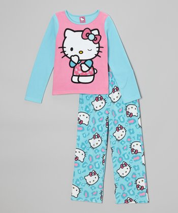 Blue & Pink Hello Kitty Leopard Pajama Set - Girls