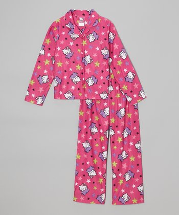 Pink & Green Hello Kitty Stars Button-Up Pajama Set - Girls