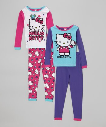 Red & Purple Hello Kitty Double Pajama Set - Girls