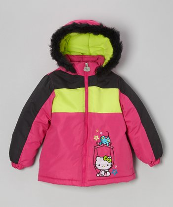 Neon Pink Cheer Kitty Jacket - Toddler & Girls