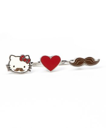 Hello Kitty Mustache Heart Double-Finger Ring