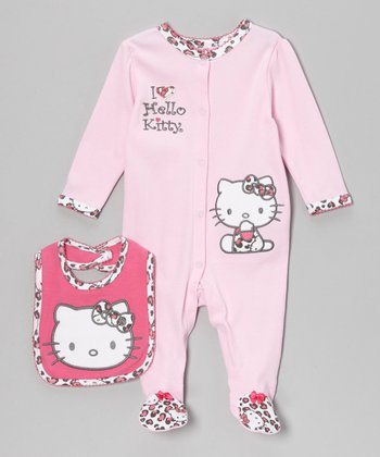 Dark Pink Footie & Bib - Infant