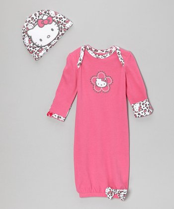 Dark Pink Gown & Cap - Infant