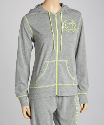 Gray Hello Kitty Zip-Up Hoodie - Women