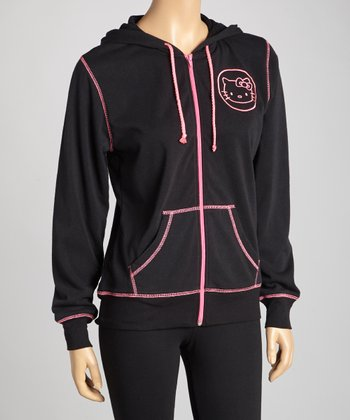 Black Hello Kitty Zip-Up Hoodie - Women