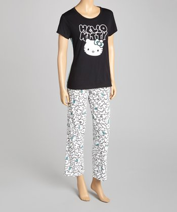 Black & White 'Hello Kitty' Pajamas - Women
