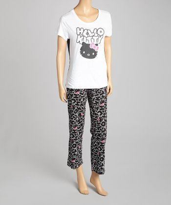 White & Black 'Hello Kitty' Pajamas - Women