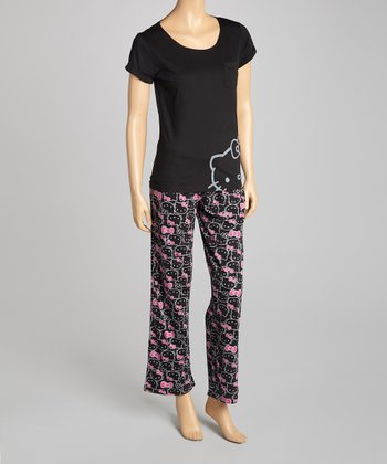 Black & Pink Hello Kitty Pajamas - Women