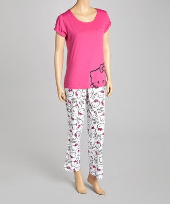 Pink & White Hello Kitty Pajamas - Women
