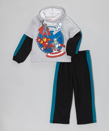 Gray Avengers Pullover Hoodie & Pants - Toddler