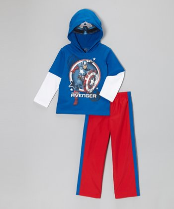 Blue 'The First Avenger' Hooded Tee & Pants - Toddler & Boys