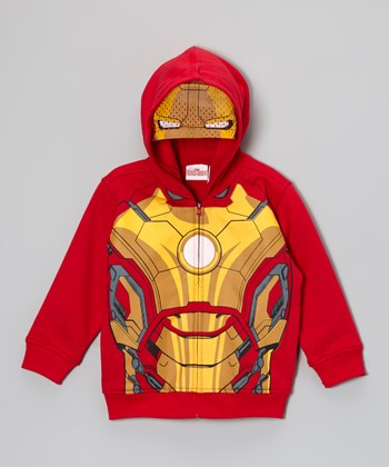 Red Iron Man Costume Chest Zip-Up Hoodie - Toddler