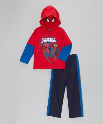 Red 'Ultimate Spider-Man' Hooded Tee & Pants - Toddler & Boys