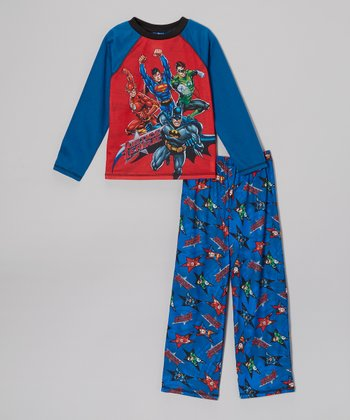 Blue 'Justice League' Pajama Set - Boys