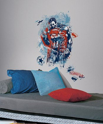 Man of Steel Distressed Graphic Peel & Stick Giant Wall Decal