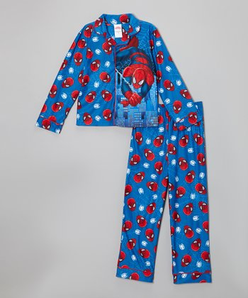 Blue & Red Spider-Man Button-Up Pajama Set - Boys