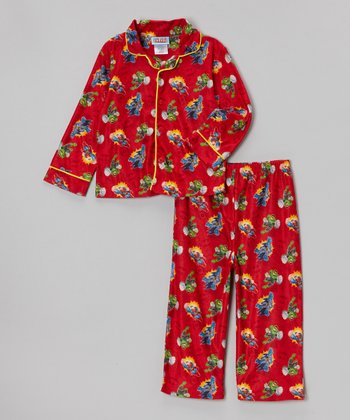 Red Superman & Friends Button-Up Pajama Set - Toddler
