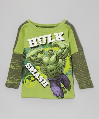 Green 'Hulk Smash' Layered Tee - Boys