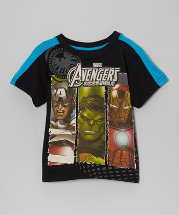 Black & Royal Blue 'Avengers Assemble' Tee - Boys