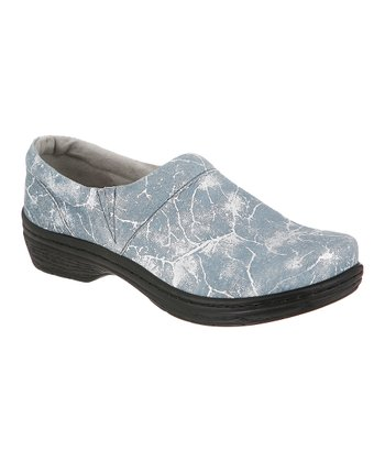 Blue Crinkle Gilt Mission Clog