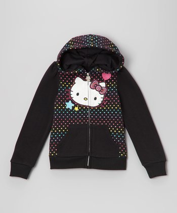 Black Polka Dot Heart Zip-Up Fleece Hoodie - Toddler
